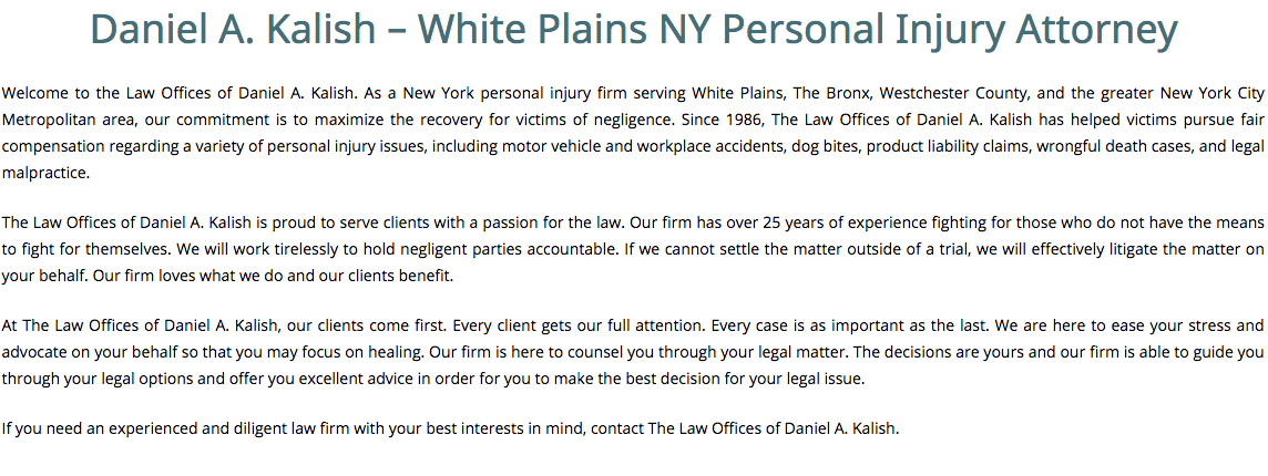 Daniel A. Kalish – White Plains NY Personal Injury Attorney